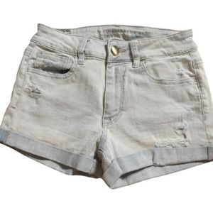 American Eagle Lightwash High Rise Distress Shorts